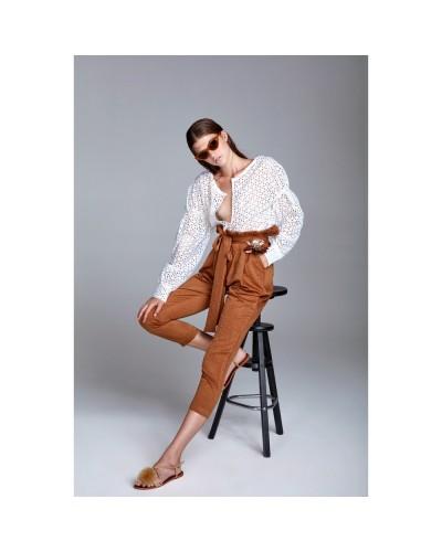 YNOT Pantalone donna alto in vita con maxi fiocco