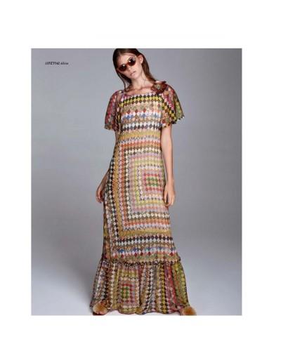 YNOT Vestito donna lungo multicolor
