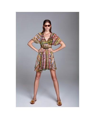 YNOT Vestito donna corto multicolor