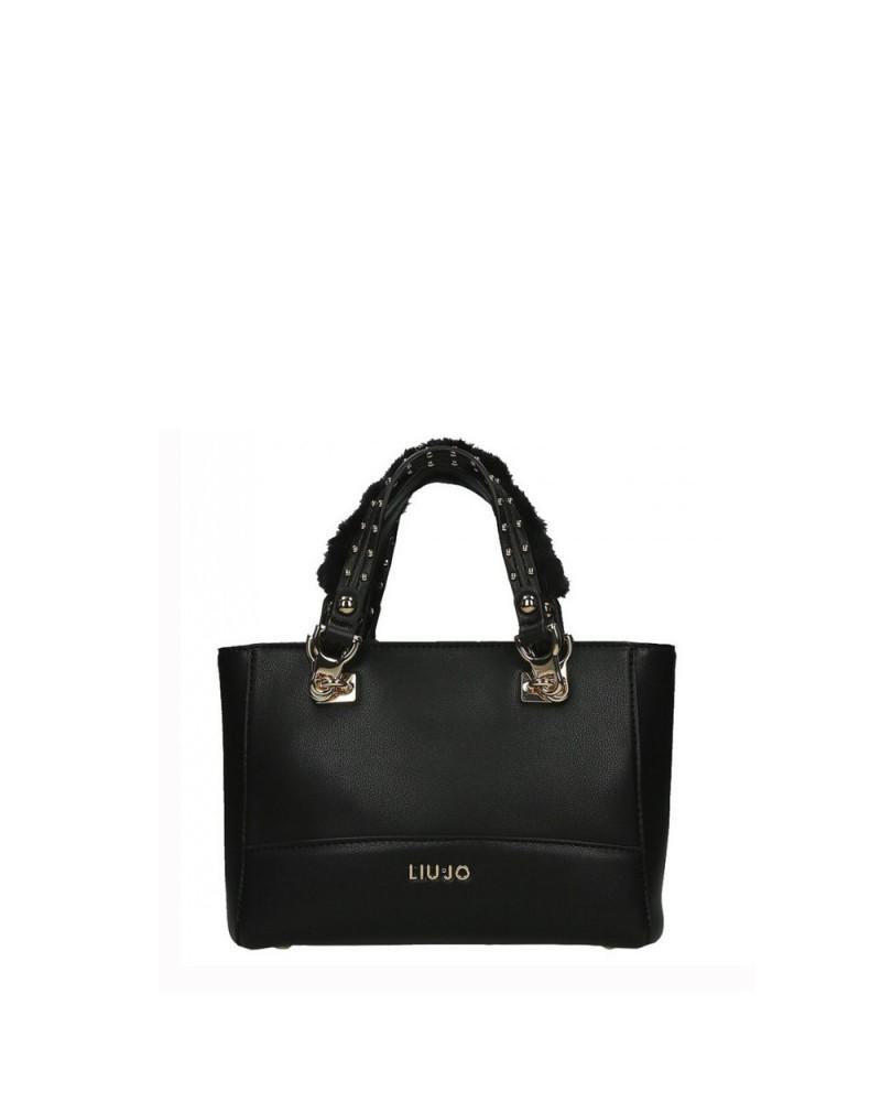 nuova collezione 15d6a f188f LIU JO Borsa a tracolla/mano donna nera piccola con borche sui manici