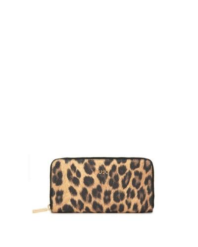 LIU JO  Portafoglio donna zip around con fantasia leopardata