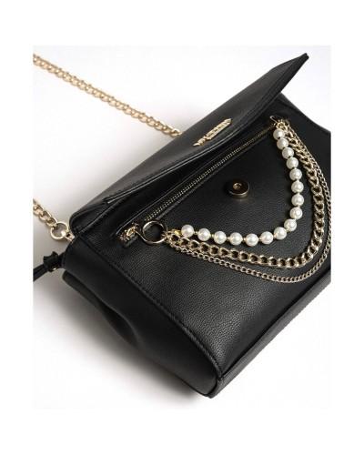 MY TWIN Borsa a tracolla con patta e decorazione pendente catena/perle