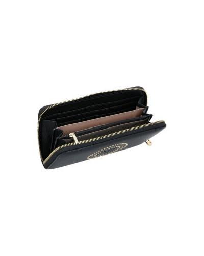 Trussardi Jeans Portafoglio donna ecopelle effetto saffiano con logo inciso e borchie