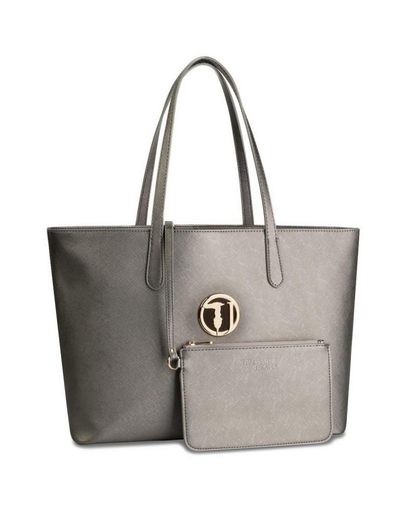 aspetto dettagliato a224d 76408 Trussardi Jeans Borsa a spalla shopper donna ecopelle effetto saffiano  metal con logo su medaglione