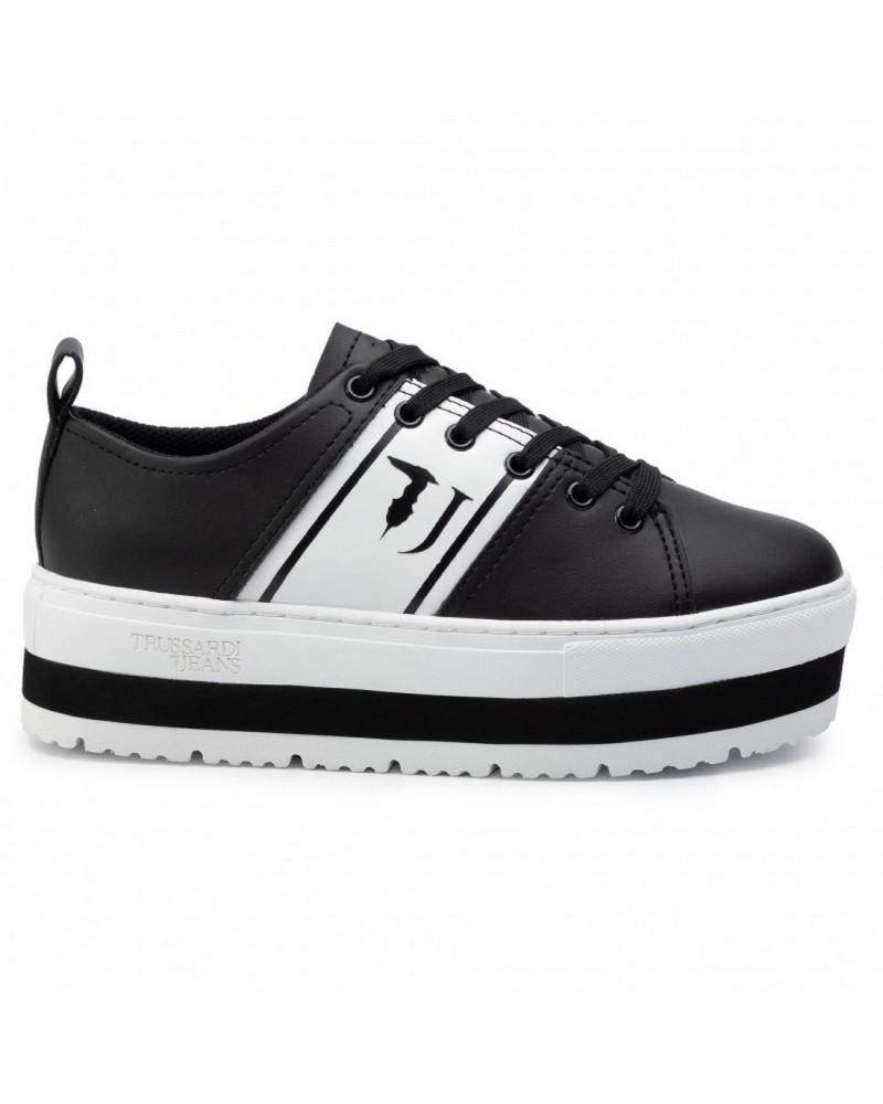 Sneakers Platform Trussardi Jeans Scarpa Donna Nera e Bianca lato
