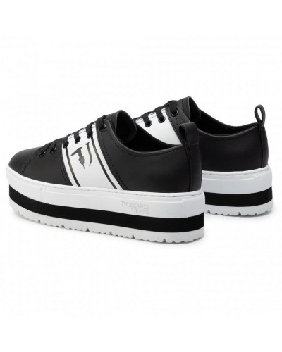 Sneakers Platform Trussardi Jeans Scarpa Donna Nera e Bianca retro