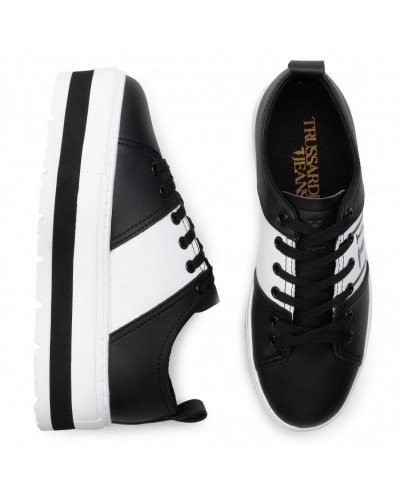 Sneakers Platform Trussardi Jeans Scarpa Donna Nera e Bianca