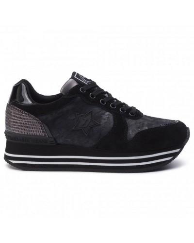 Sneakers Camoscio Trussardi Jeans Scarpa Donna Nera