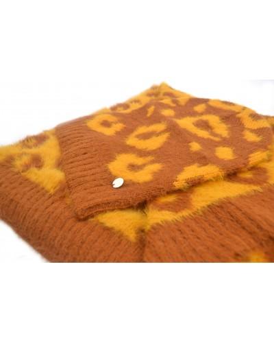 Completo Liu Jo donna sciarpa con cappello in jacquard animalier