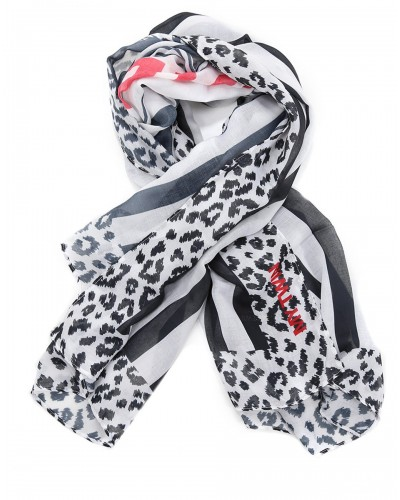 MY TWIN Kefia/foulard donna fantasia animalier e righe