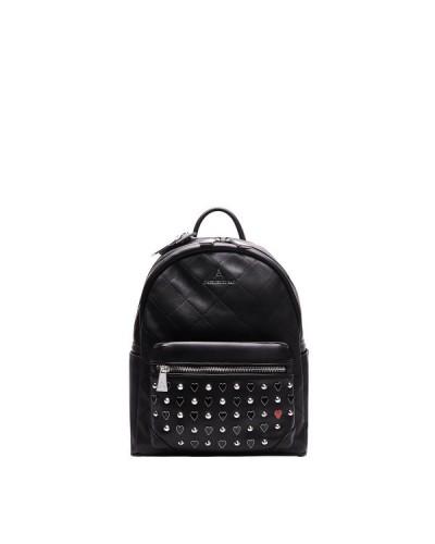 Zaino L'atelier Du Sac nero con borchie e cuori laccati. Pashmina in omaggio. Modello Camille