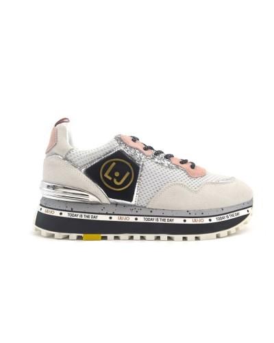 Scarpe sneakers Liu Jo donna running white glitter. Modello Maxi Alexia