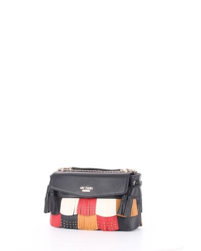 MY TWIN Borsa a tracolla donna con frange colorate e borchiate