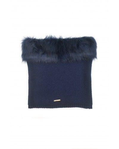 Collo Trussardi jeans donna in maglia con ecopelliccia Blu