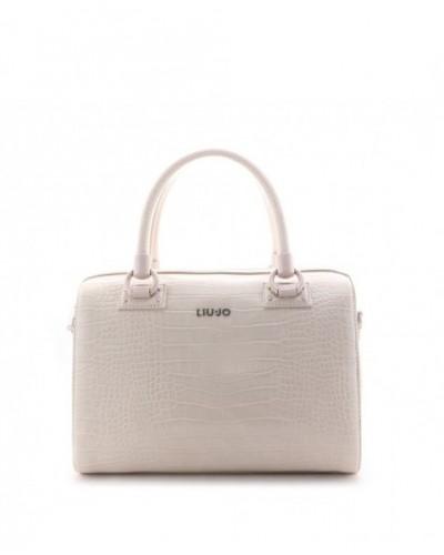 Borsa bauletto Liu Jo effetto coccodrilo da donna bianca. Modello satchel