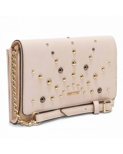 Borsa Nine West a tracolla in ecopelle con borchie dorate e nere. Modello Ivy slg