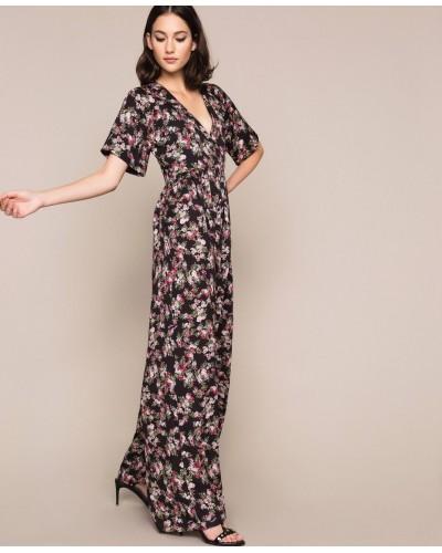 Tuta My Twin donna in crêpe de Chine a fiori. Stampa flowered nero