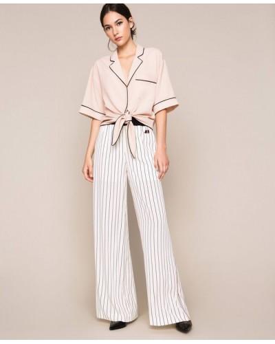 Pantaloni My Twin donna in crêpe de Chine a righe. Rigato Vaniglia / Nero