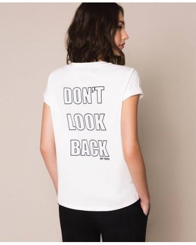 T-shirt My Twin donna con pizzo macramè bicolore Giglio / Nero