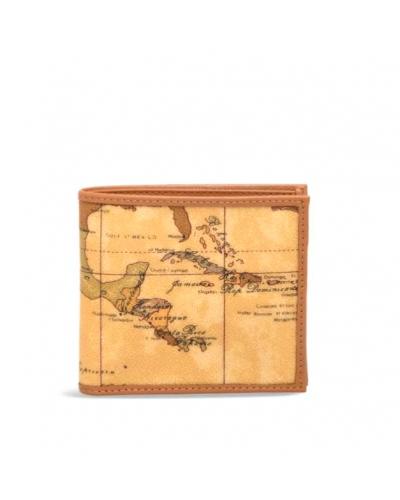 Portafoglio Alviero Martini 1a Classe in tessuto stampato con cartina geografica Geo Classic cuoio