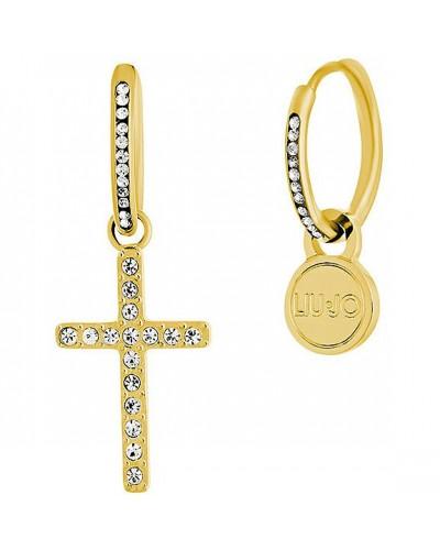 Orecchini Liu Jo donna in nacciaio croce pendente gold