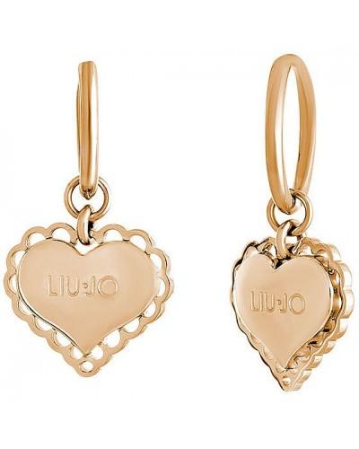 Orecchini Liu Jo donna in acciaio pendente cuore gold rose