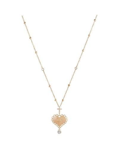 Collana Liu Jo donna in acciaio lunga gold rose pendente cuore