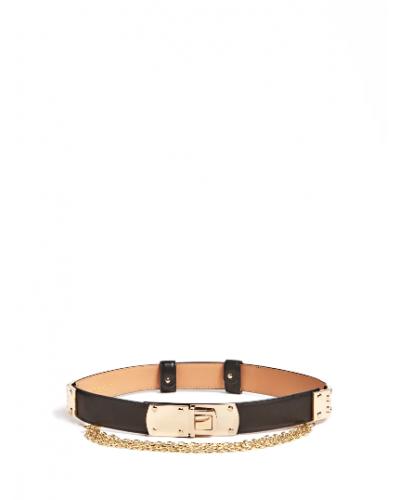 Cintura Guess Marciano donna in vera pelle nera con metalleria color oro