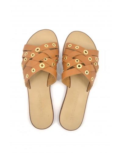 Sandali Trussardi Jeans piatti in pelle con occhielli Cuoio+galvanica oro