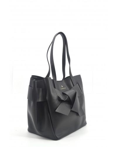 Borsa a mano L'atelier du sac con fiocco sul davanti becca starlight nero con pashmina in omaggio