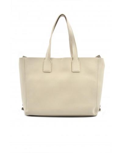 Borsa a mano L'atelier du sac con borchie gold sui lati. Modello Bruges beige con pashmina in omaggio