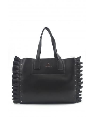 Borsa a mano L'atelier du sac con borchie gold sui lati. Modello Bruges nero con pashmina in omaggio