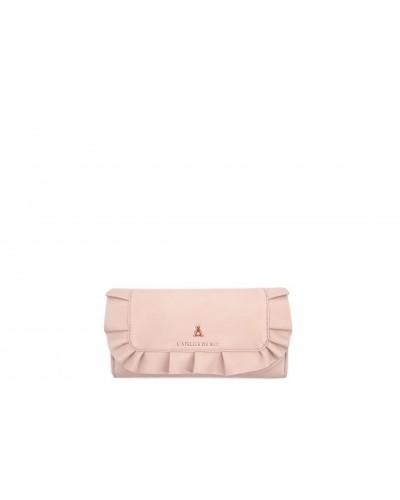 Portafoglio L'atelier Du sac con dettagli gold rose. Modello Francine rosa