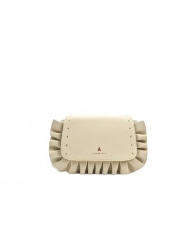 Borsa l'atelier du sac a tracolla con dettagli e borchie gold sui lati. Modello Delma beige