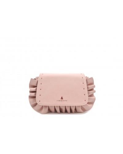 Borsa l'atelier du sac a tracolla con dettagli e borchie gold sui lati. Modello Delma rosa