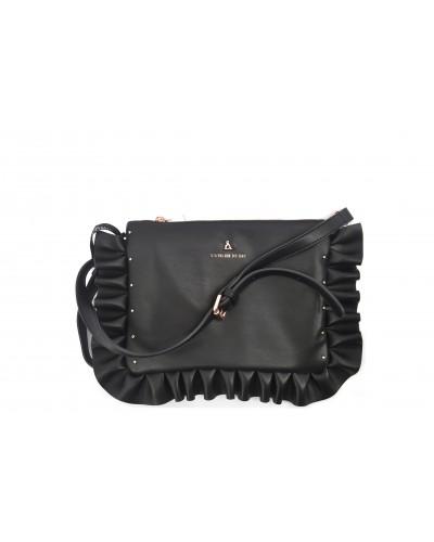 Pochette L'atelier du sac con tracolla e zip. Modello Sophie princess bride nero