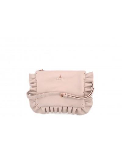 Pochette L'atelier du sac con tracolla e zip. Modello Sophie princess bride rosa