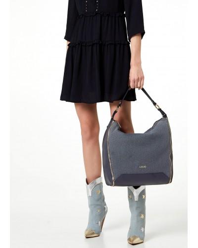 Borsa Liu Jo blu in tela a sacca con zip laterali