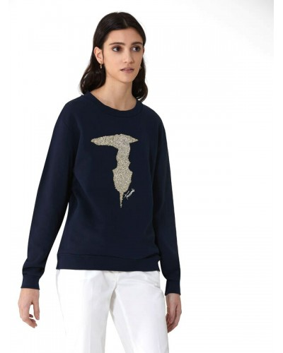 Felpa Trussardi Jeans donna in cotone  a collo tondo con logo in rilievo luminoso