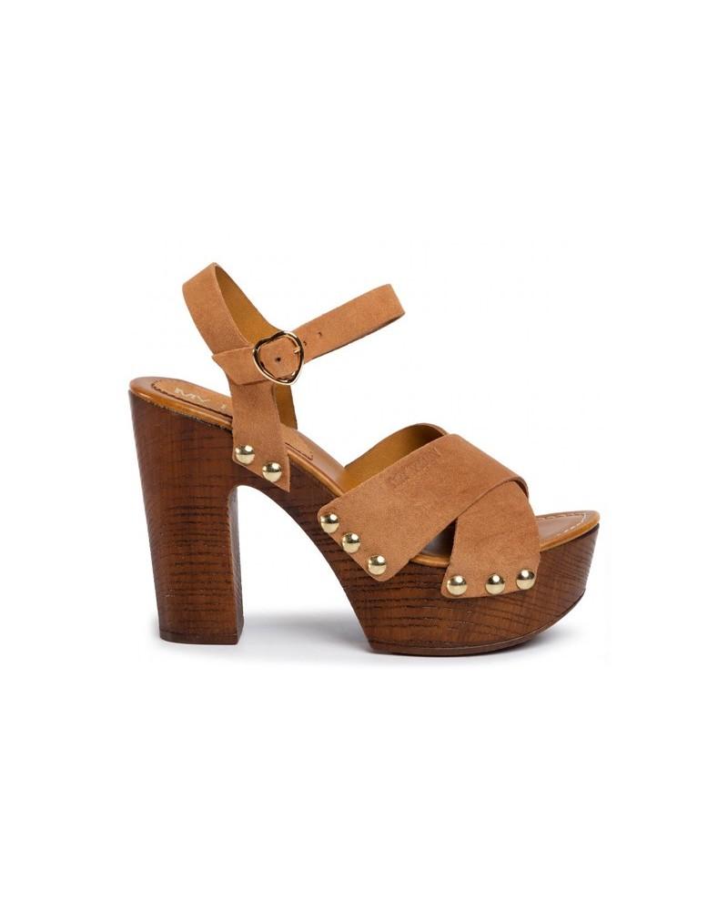 Sandalo My Twin in legno con tacco e fascie in cuoio