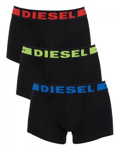 Boxer Diesel cotton stretch 3 pack nero con logo a colore