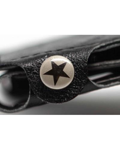 Portafoglio mini Vip Star in ecopelle  nera da uomo superior struzzo