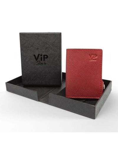 Portafoglio mini Vip Star in ecopelle saffiano rosso da uomo