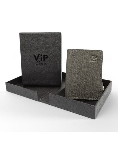 Portafoglio mini Vip Star in ecopelle saffiano grigio da uomo