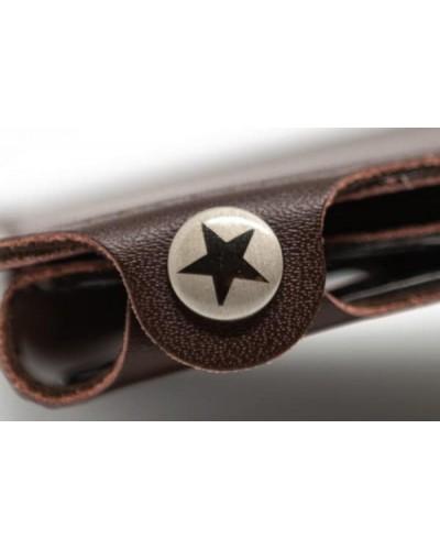 Portafoglio mini Vip Star in ecopelle marrone da uomo