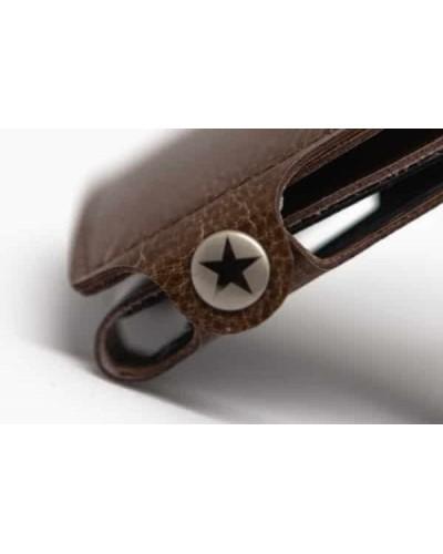 Portafoglio mini Vip Star in ecopelle lucida marrone da uomo