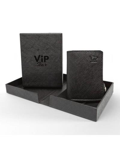 Portafoglio mini Vip Star in ecopelle saffiano nera da uomo