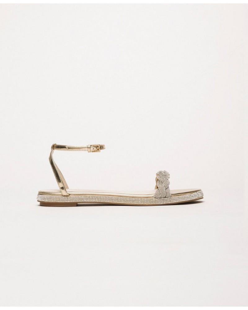 Sandalo My Twin basso oro chiaro con strass