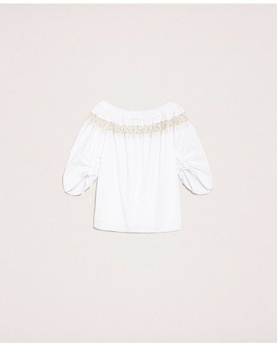 Blusa My Twin in popeline con pizzo