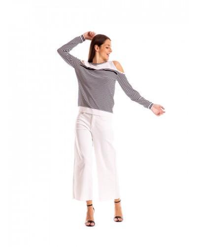 Maglia Mimì Muà donna a righe con manica lunga e oblò sulle spalle